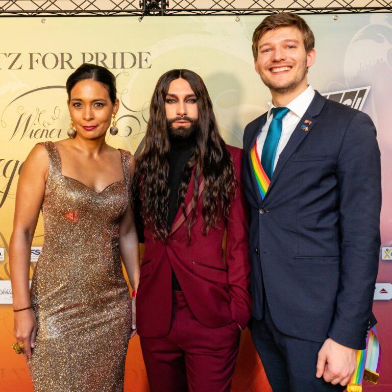 Katharina Kacerovsky, Conchita Wurst und Moritz Yvon
